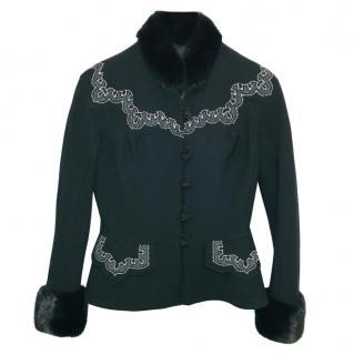 Christian Dior Virgin Wool Mink Fur Trim Jacket
