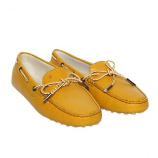Tod's Yellow Leather Gommino Loafers
