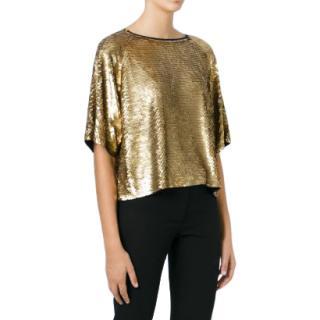 Michael Michael Kors Gold Sequin Top