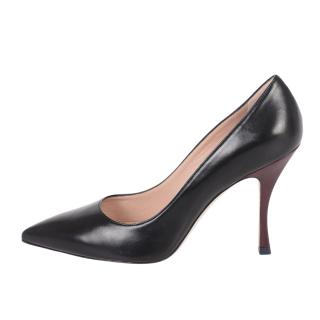 Stuart Weitzman Black Leather Tippi Pumps