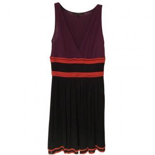 Gucci Purple & Black Sheer V-Neck Dress