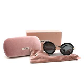 Miu Miu Delice Black Round Sunglasses