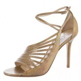 Jimmy Choo Criss Cross Snakeskin Embossed Sandals