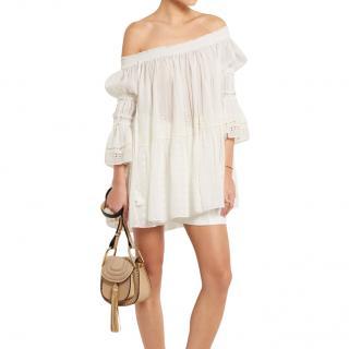 Chloe ivory cotton-voile off-shoulder top
