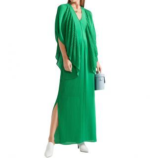 By Malene Birger Green Plisse Chiffon Maxi Dress