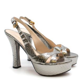 Prada Snakeskin Silver Slingback Platform Sandals
