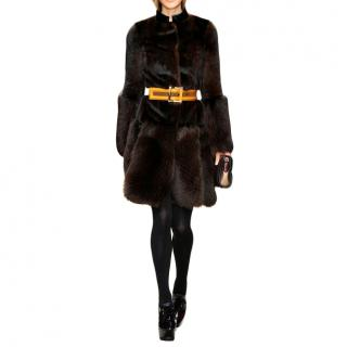 Burberry Prorsum Glossy Brown Mink Fur Belted Coat