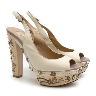 Valentino Ivory Floral Embellished Platform Clog Sandals