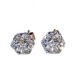 Bespoke 9ct Gold Floral Stud Diamond Earrings