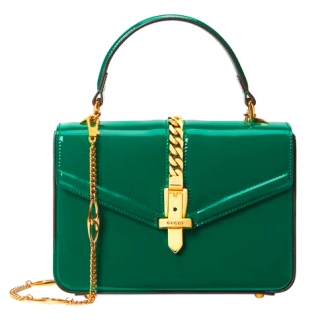 Gucci Sylvie 1969 mini chain-embellished patent-leather tote