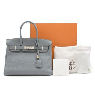 Hermes Blue Orage Togo Leather 30cm Birkin