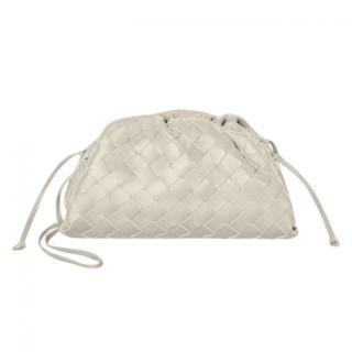 Bottega Veneta The Pouch in Plaster White Intrecciato Leather