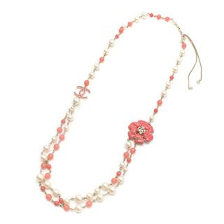 Chanel Faux Pearl and Crystal CC Camellia Necklace