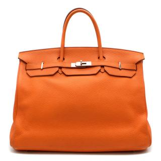 Hermes Orange Clemence Leather 40cm Birkin