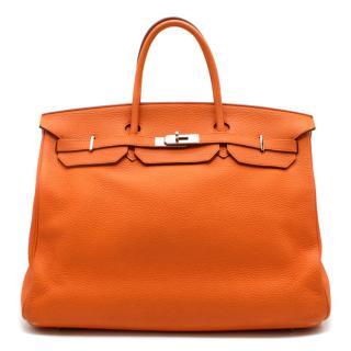 Hermes Orange Clemence Leather 40cm Birkin