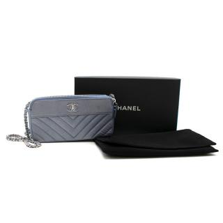 Chanel Silver & Blue Caviar Leather Chevron Double Zip Wallet on Chain