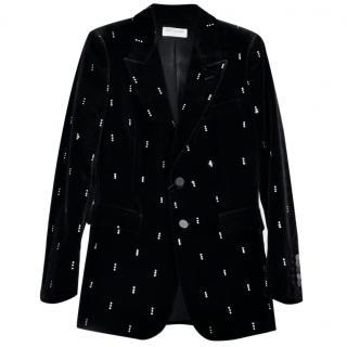 Saint Laurent black velvet and diamante blazer