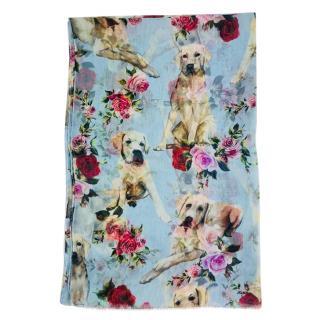 Dolce & Gabbana labrador print silk scarf