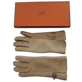 Hermes men's lambs leather sheepskin lined gloves