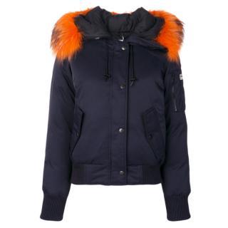 Keno blue down jacket with orange fur trimmed hood