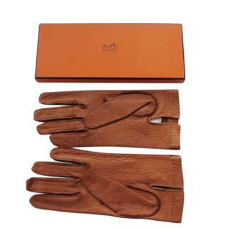 Hermes tan brown peccary leather men's gloves
