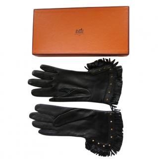 Hermes vintage unused black leather fringed gloves in box