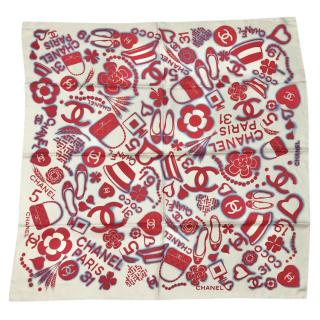Chanel Ivory, Red & Blue SIlk Printed Logo Scarf