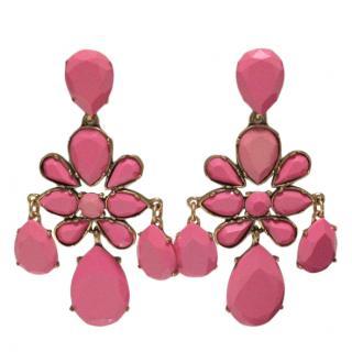 Oscar de la Remta Pink Poured Resin Chandelier Earrings