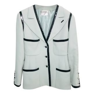 Chanel Boutique Pale Blue Tweed Jacket W/ Patent Trim
