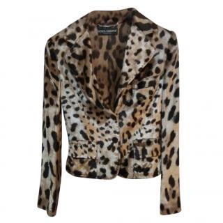 Dolce & Gabbana Velour Leopard Print Jacket