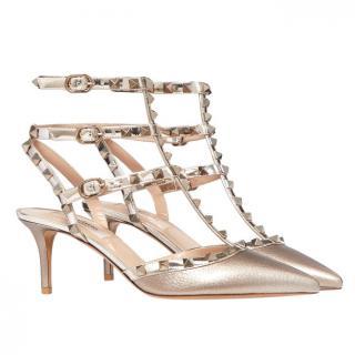 Valentino Garavani Rockstud Metallic Champagne Sandals