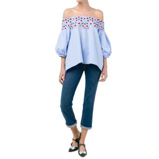 Peter Pilotto off-shoulder Blue Embroidered Top