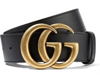 Gucci Black Leather Marmont Belt - SIze 85