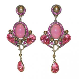 Dior Pink Gold Plated Chandelier Earrings