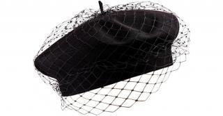 Dior Black Cotton Beret Hat With Veil