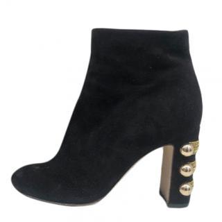Dolce & Gabbana black suede embellished heel ankle boots