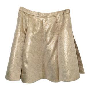Kate Spade metallic gold pleated skirt