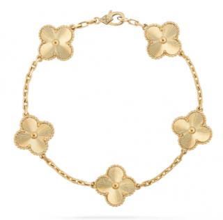 Van Cleef & Arpels guilloche yellow gold Vintage Alhambra bracelet