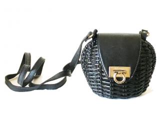 Salvatore Ferragamo Wicker & Leather Gancini Mini Crossbody Bag