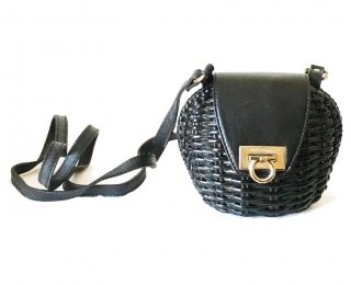 Salvatore Ferragamo Wicker & Leather Gancini Mini Crossbody Bag