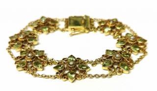 Bespoke peridot and see pearl gold bracelet