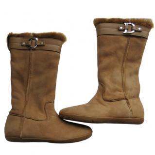 Christian Dior soft sheepskin flat boots