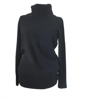 MaxMara black cashmere and wool blend polo neck jumper