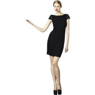 Alice + Olivia merino wool knit black dress with exposed zipper