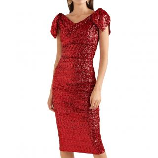 Dolce & Gabbana ruby red sequin and tulle dress