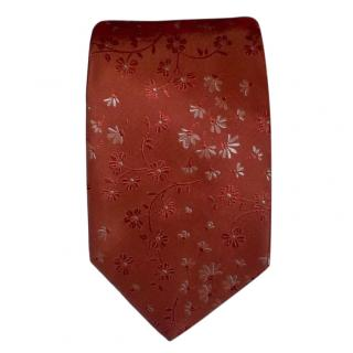 Hugo Boss orange patterned silk tie