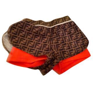 Fendi logo elastic waistband shorts