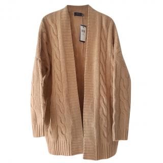 Ralph Lauren Polo camel wool and cashmere soft aran knit cardigan