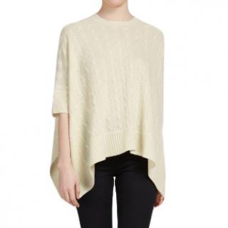 Ralph Lauren Black Label soft cream cable knit cashmere poncho