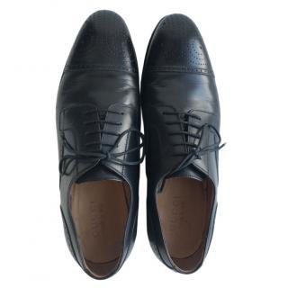 Gucci men's black leather brogues